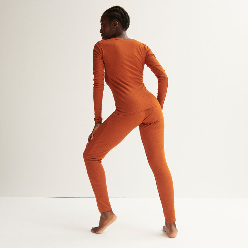 legging côtelé tacheté - camel;
