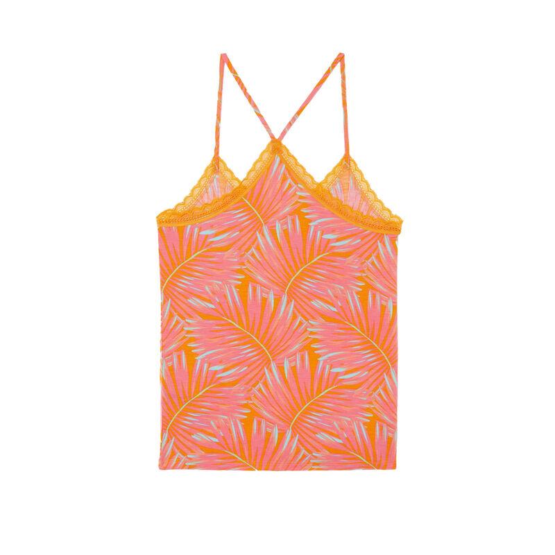 top en jersey à fines bretelles imprimé tropical - mangue;