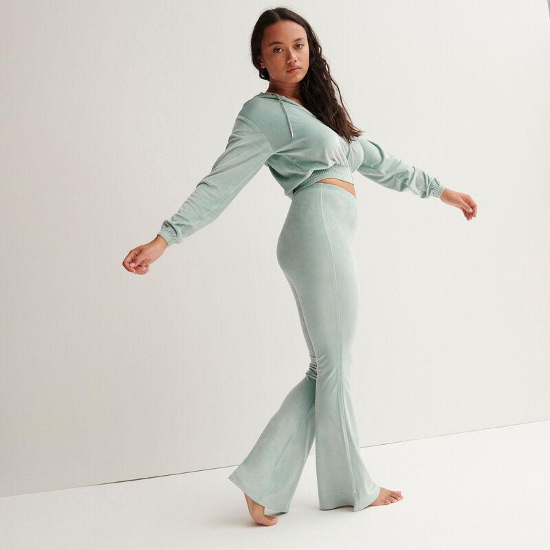 pantalon taille haute pattes def en velours -  vert d'eau;