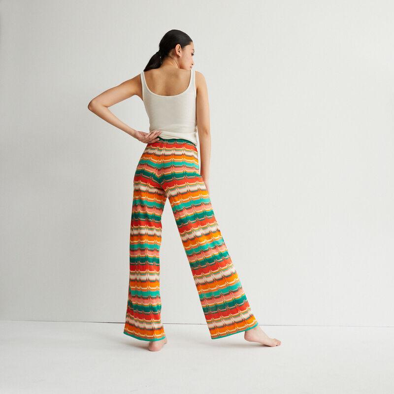 pantalon noué à motifs - vert;