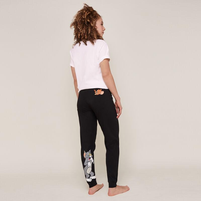 Pantalon imprimé tom et jerry - noir;