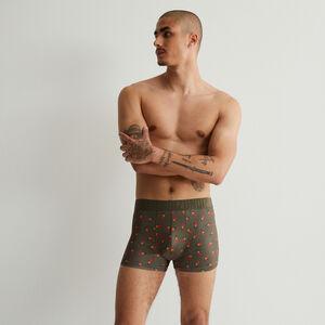 boxer en coton à motifs piments - kaki