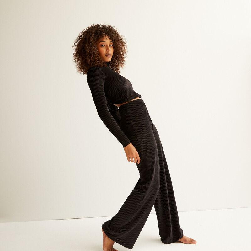 pantalon coupe droite à taille haute - noir;