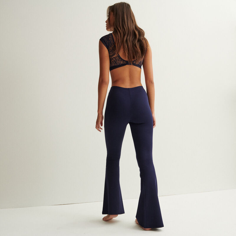 pantalon flare détail anneau - bleu marine;