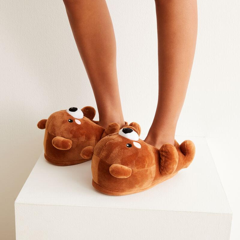 chausson polaire en forme d'ourson - marron;