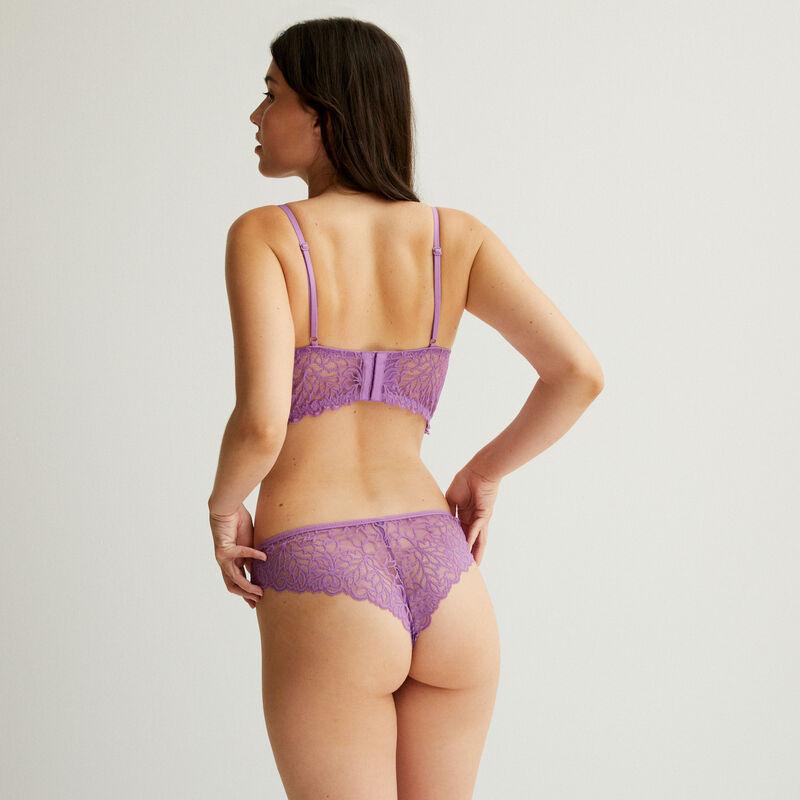 tanga en dentelle - violet;