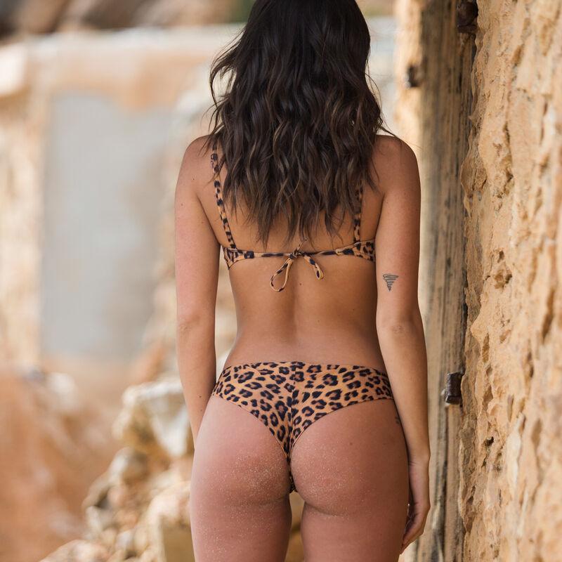 haut de maillot bandeau imprimé léopard - marron ;