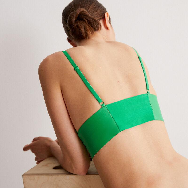 soutien-gorge triangle sans armatures effet cuir - vert;