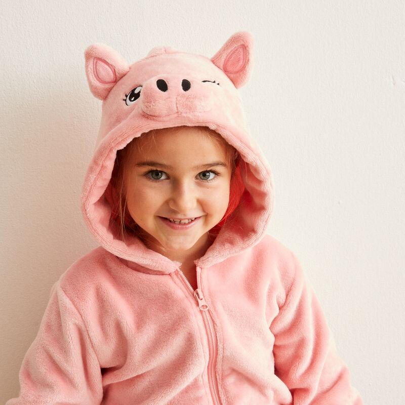 combinaison polaire kid cochon - rose;