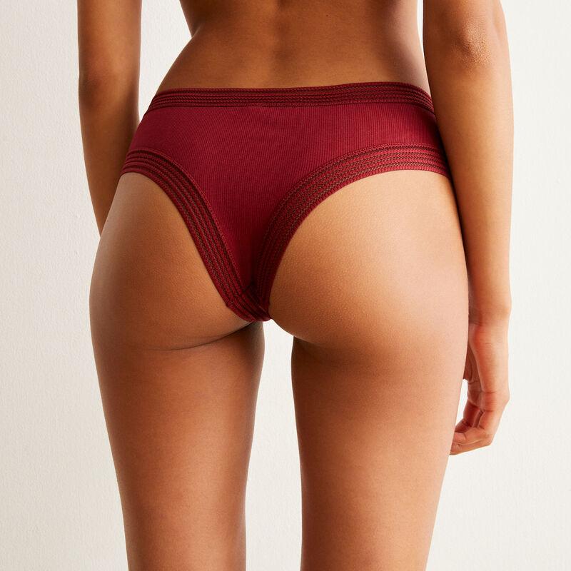 shorty bordures dentelle - rouge;
