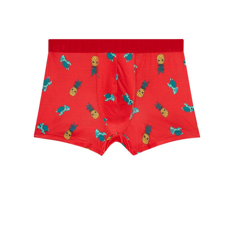 boxer à motifs ananas et tortue - rouge;