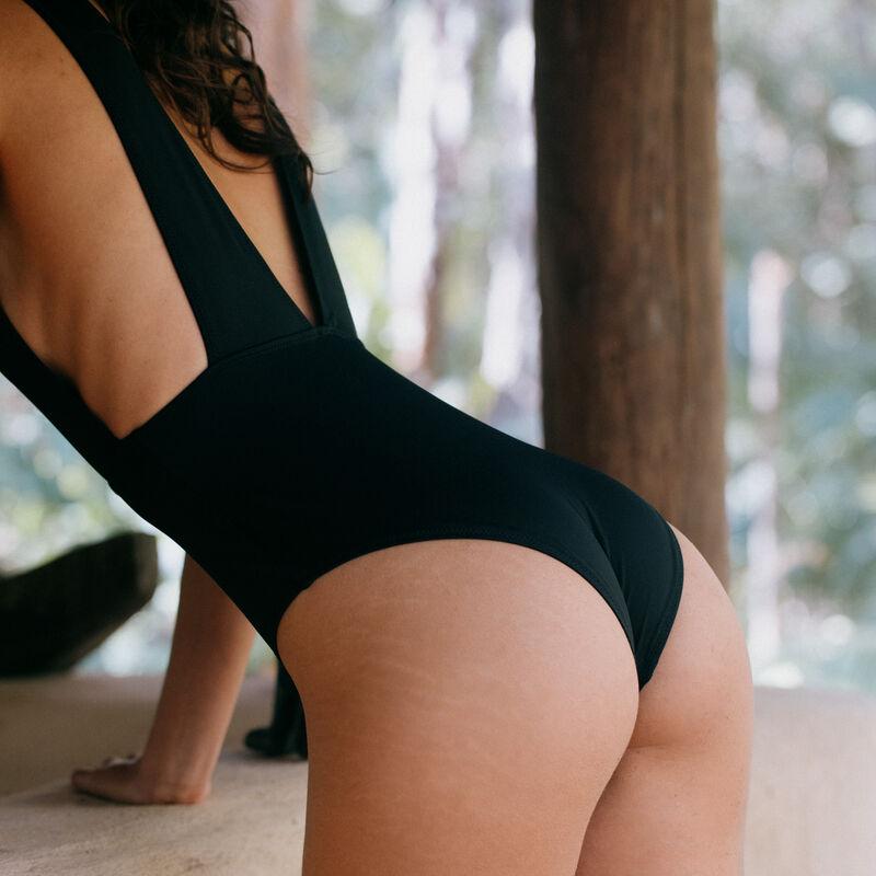 maillot de bain une pièce à décolleté plongeant - noir;
