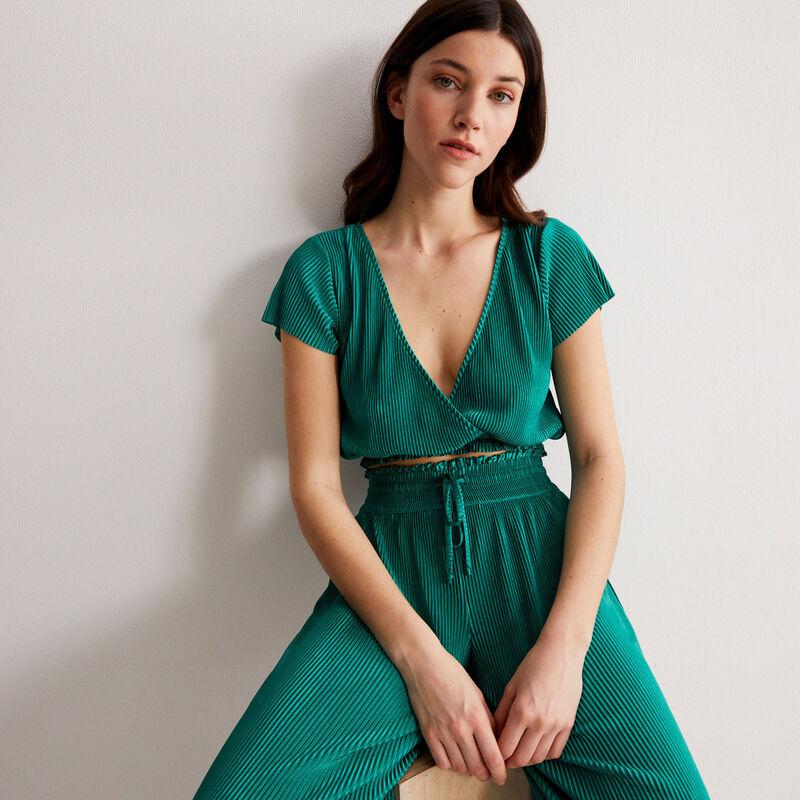 top plissé manches courtes cache-coeur - vert;