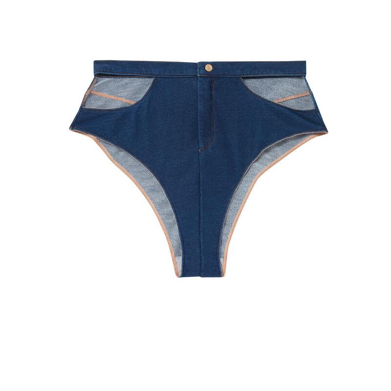 culottes taille haute hanches ajourées - denim;