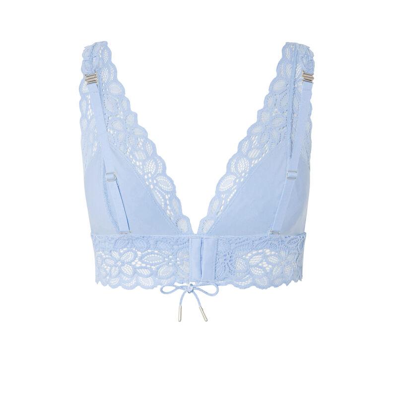 soutien-gorge triangle en dentelle fleurie détail noeud - bleu;
