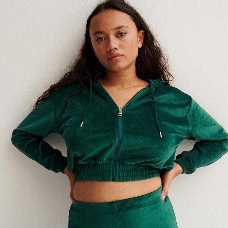veste crop en velours à taille élastique - sapin;