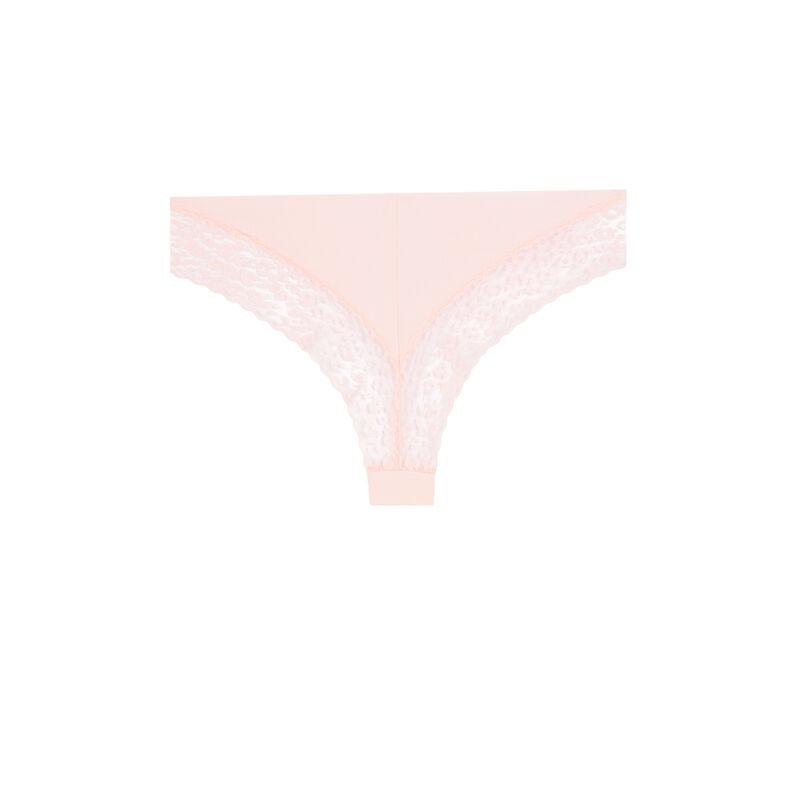 Tanga en coton uni - rose poudré;