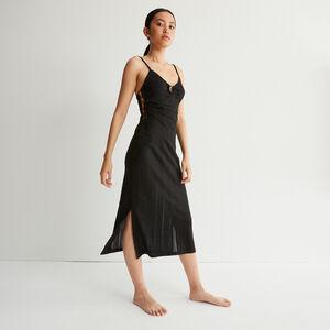 robe longue ajourée décolleté anneau - noir