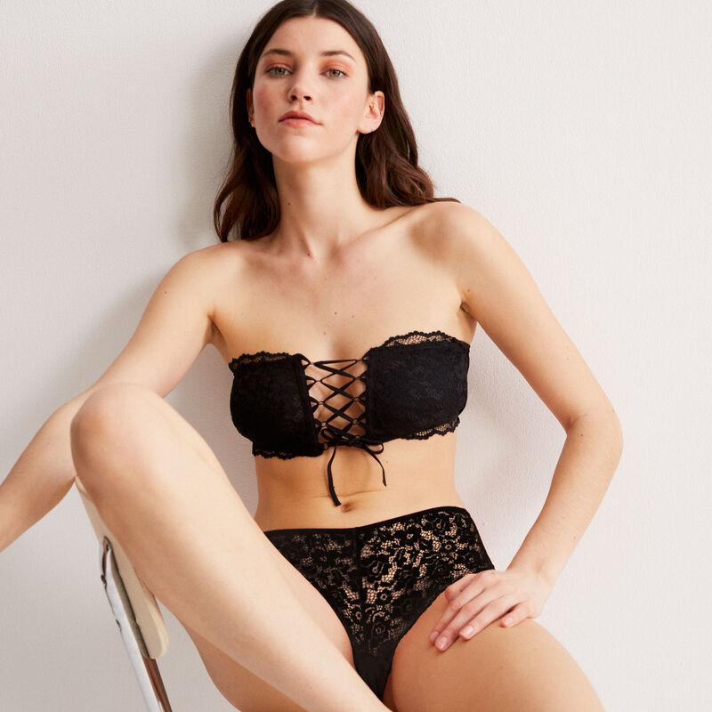 soutien-gorge bandeau sans armatures effet corset - noir;