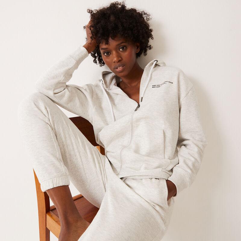 veste zippée à capuche à message - écru;
