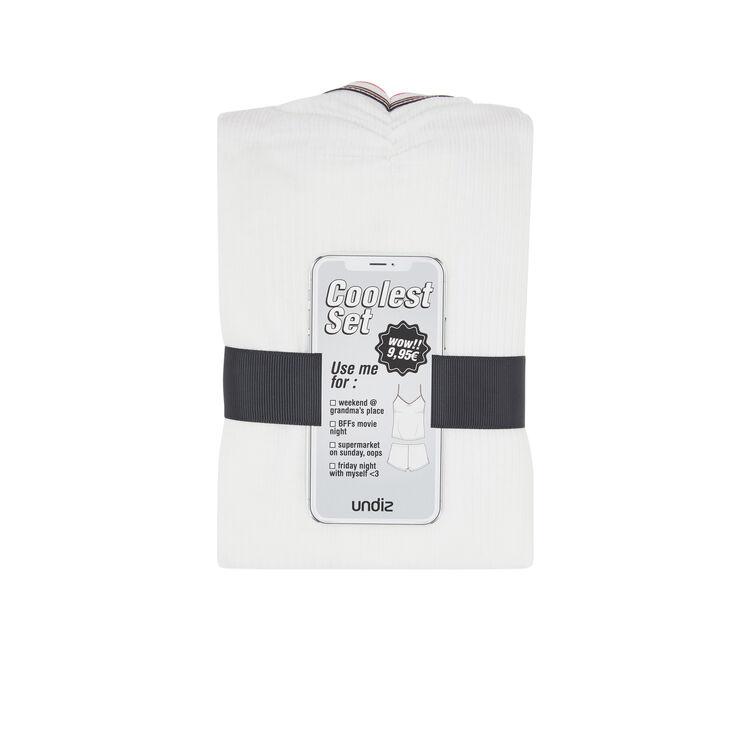 Set pyjama deux pièces en jersey raycooliz blanc.