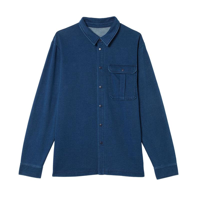 chemise en jean à poches - bleu;