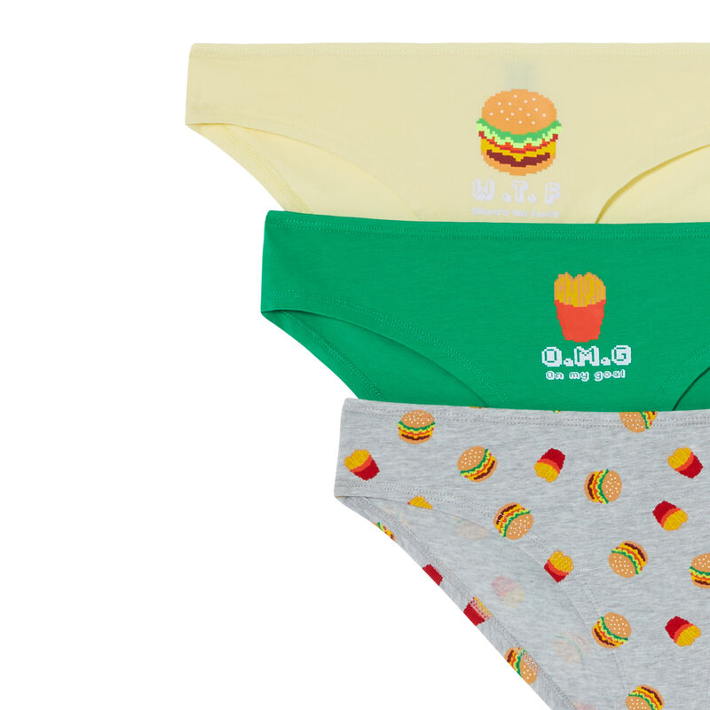 lot de 3 culottes burger - gris;