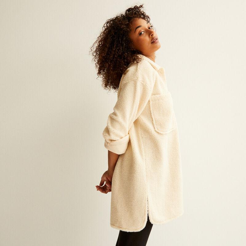 veste oversize en bouclettes - crème;