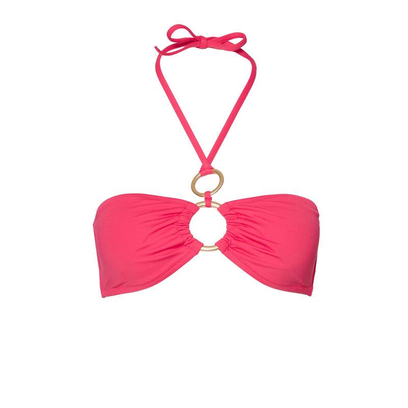 haut de maillot de bain bandeau à détails anneaux - rose;
