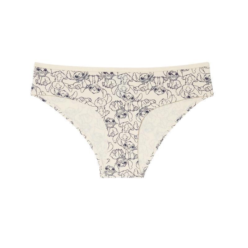 shorty en coton imprimé stitch - blanc cassé;