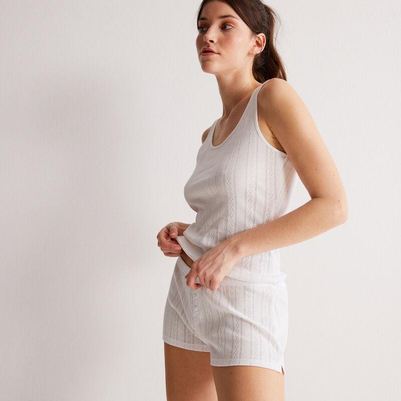 short uni maille pointelle - blanc;