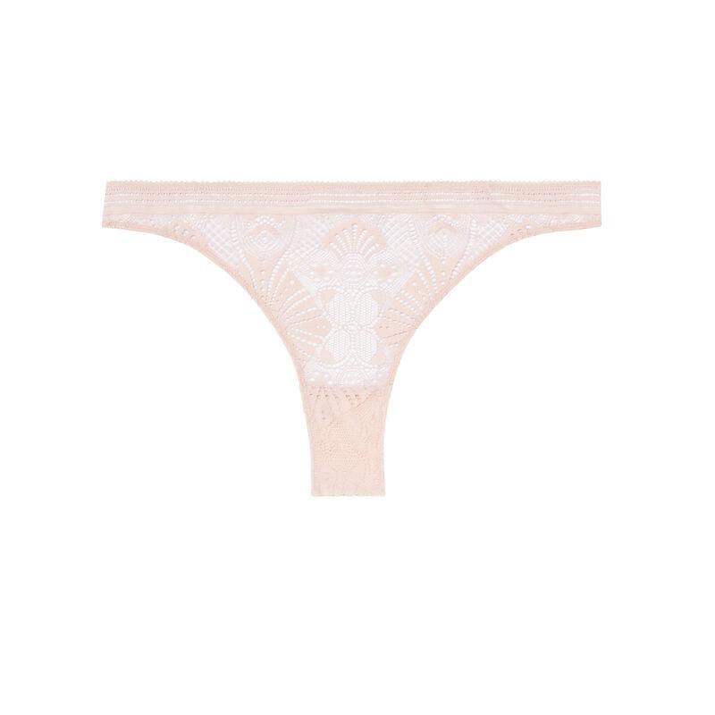 tanga à détails liens - rose nude;