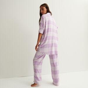 pantalon à carreaux large taille froncée et nouée - violet
