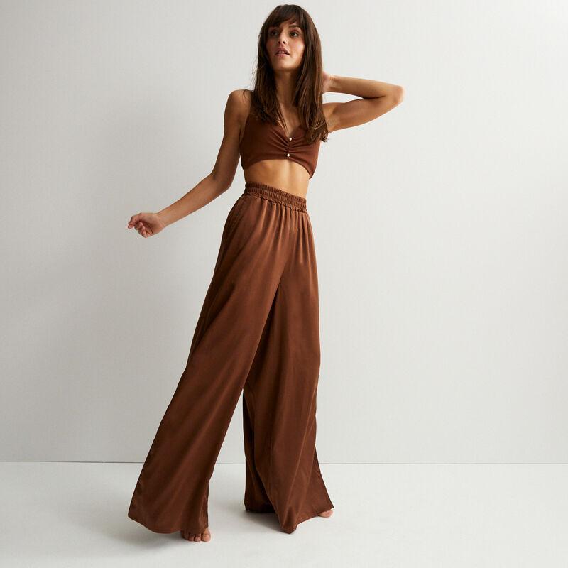 pantalon satiné taille haute - marron;