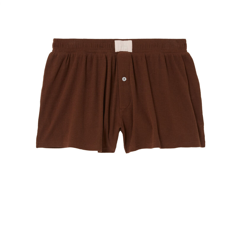 boxer en coton - marron;