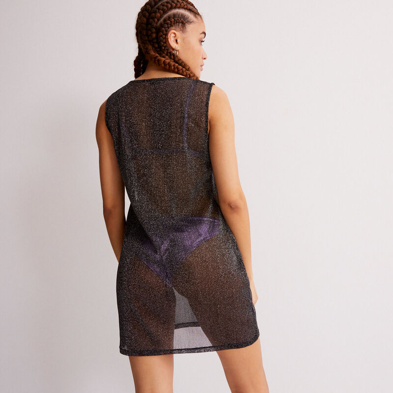 robe transparente effet métallisé - noir;