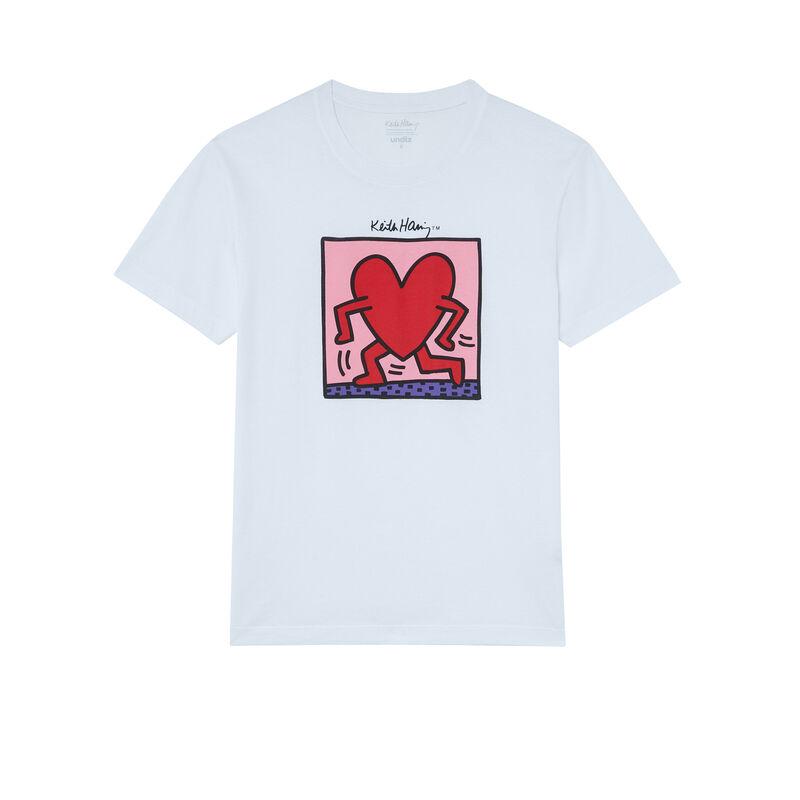 top imprimé coeur Keith Haring - blanc;