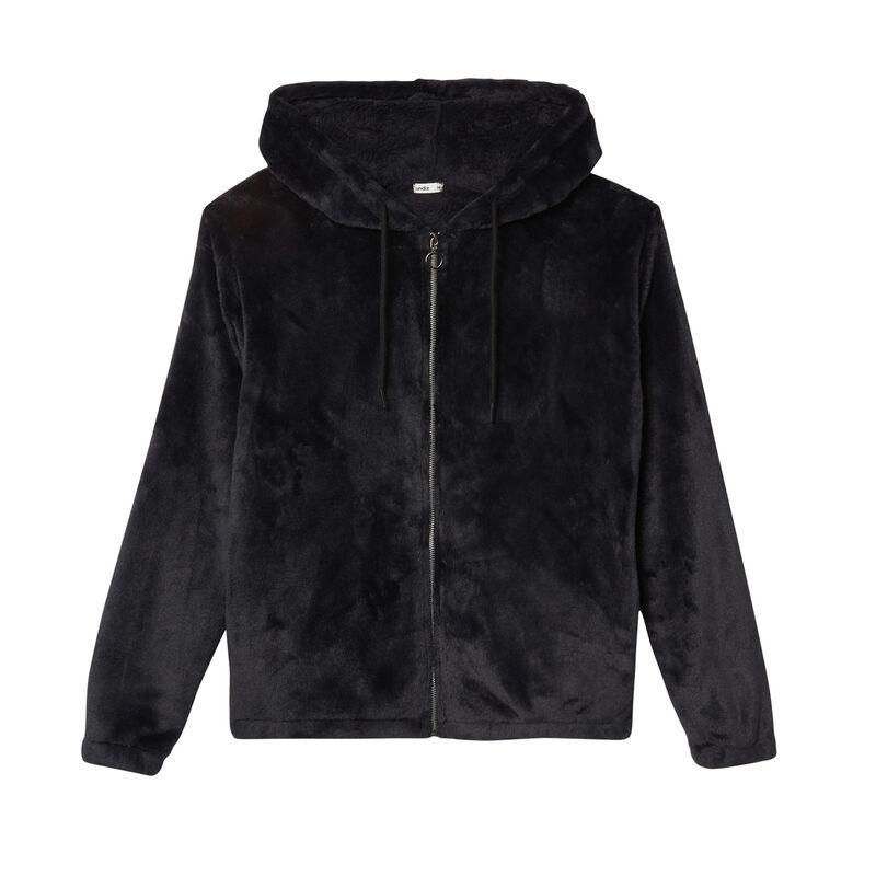 veste en polaire à zip anneau et capuche - noir;