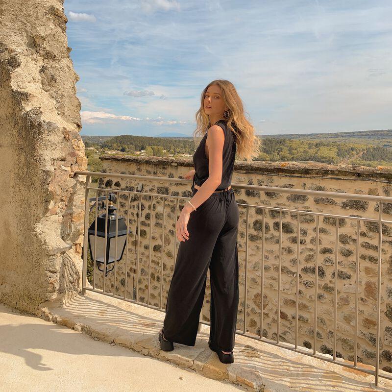 pantalon fluide détail taille - noir;