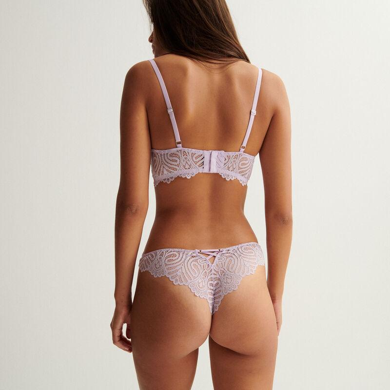 soutien-gorge ampli bustier détail bijou - lilas;