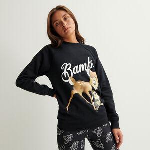 sweat imprimé bambi - noir