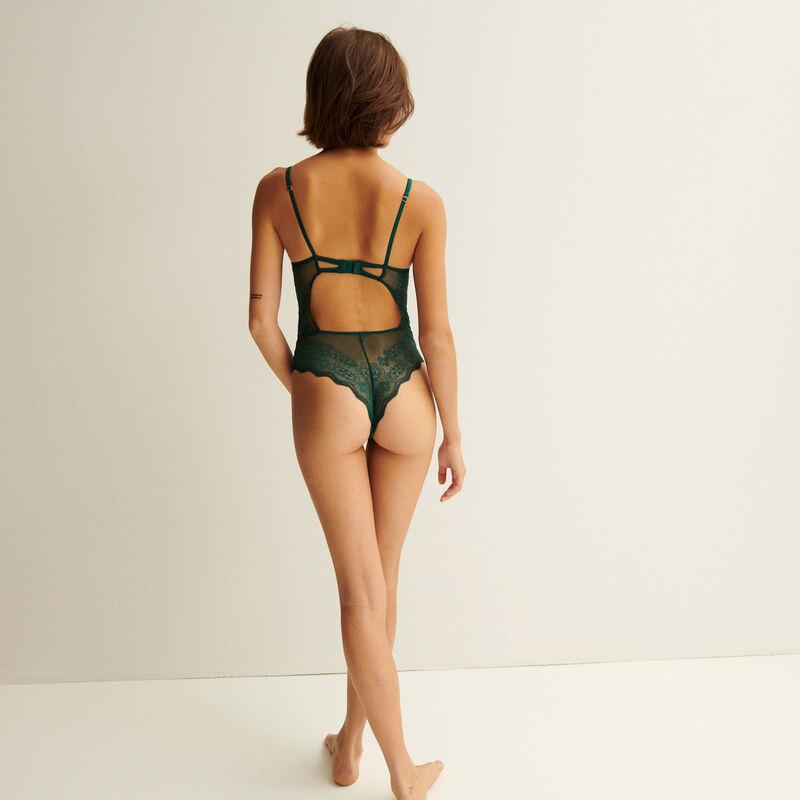 body push-up à détail chaine dorée - sapin;