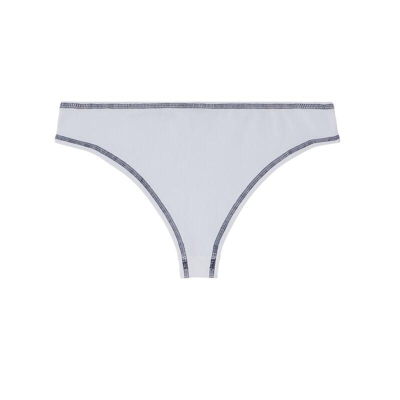 shorty coton coutures noires apparentes - blanc;