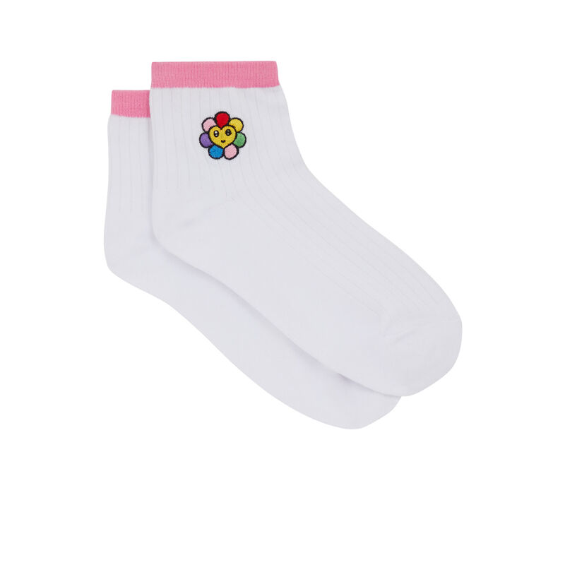 Chaussettes à imprimé - blanc;