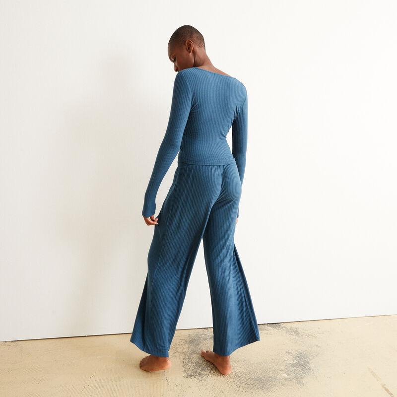 pantalon ample et cordon à nouer - bleu;