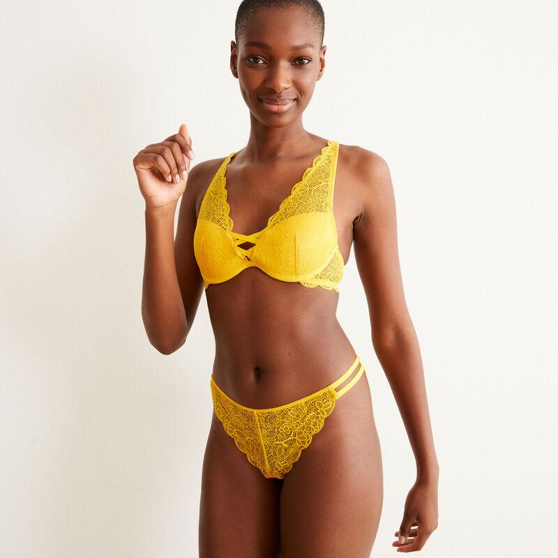 soutien-gorge push-up foulard en dentelle - jaune;