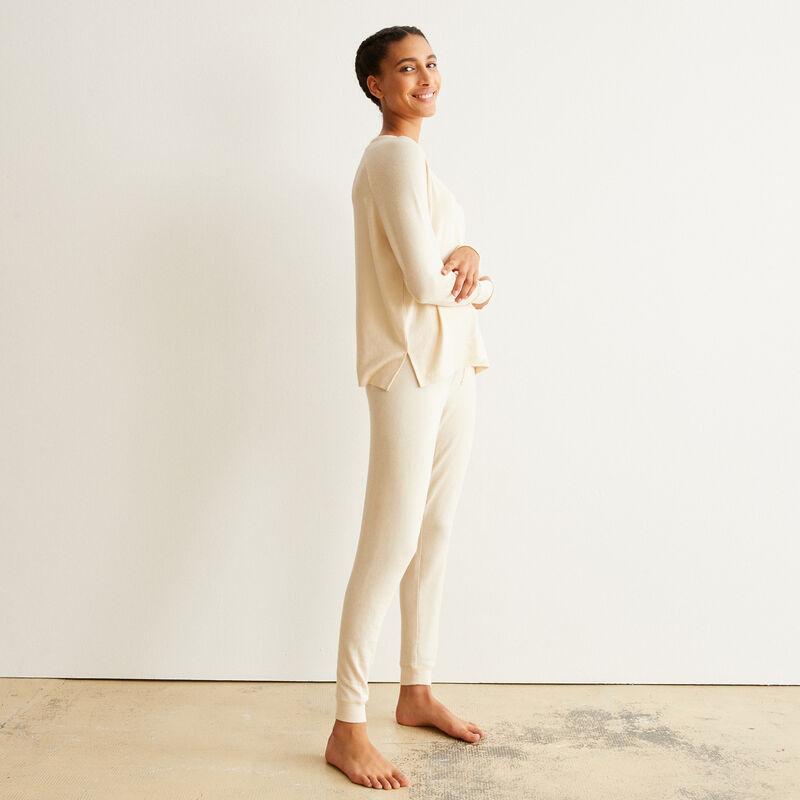 pantalon en maille - blanc cassé;