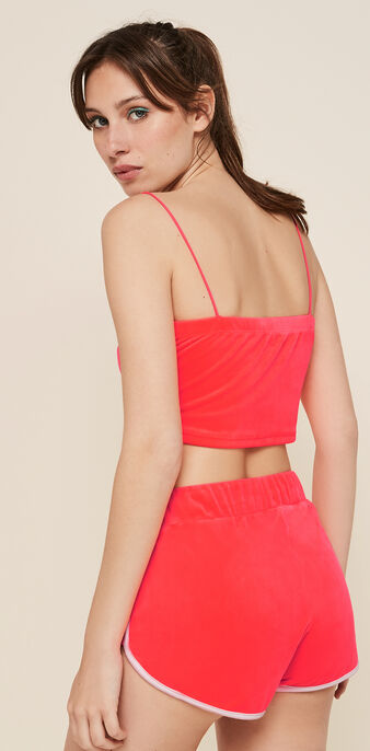 Top corail fluo veloufliz rose.