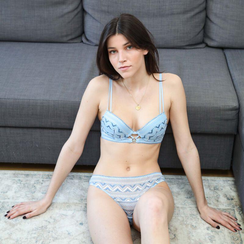 soutien-gorge push-up à dentelle bicolore - bleu;