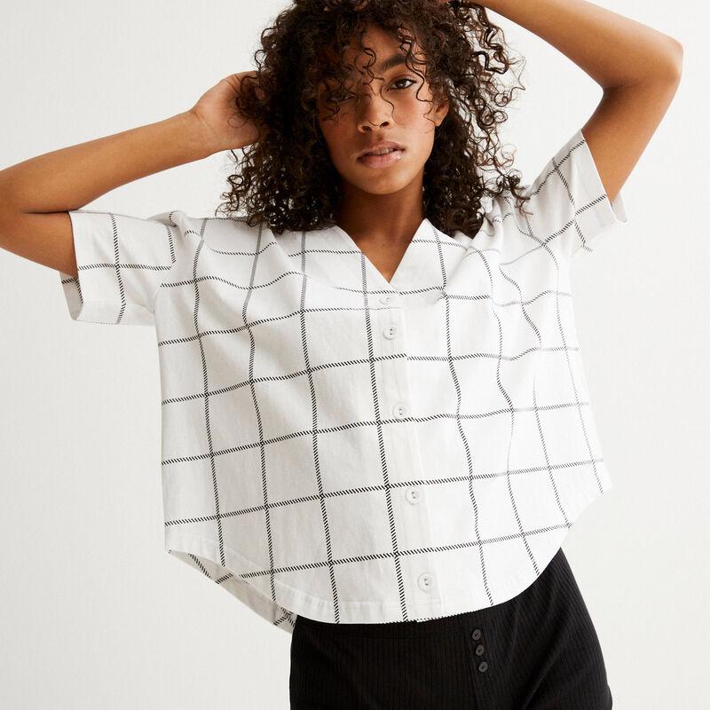 crop top chemise à carreaux - blanc;